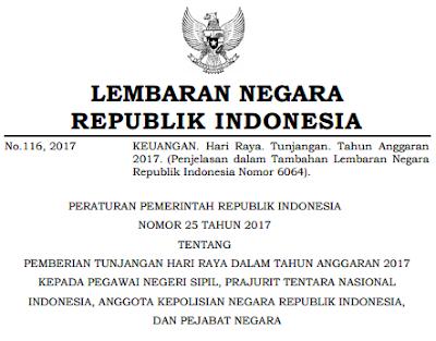 Tunjangan Hari Raya PNS, TNI, Polisi dan Pejabat Negara