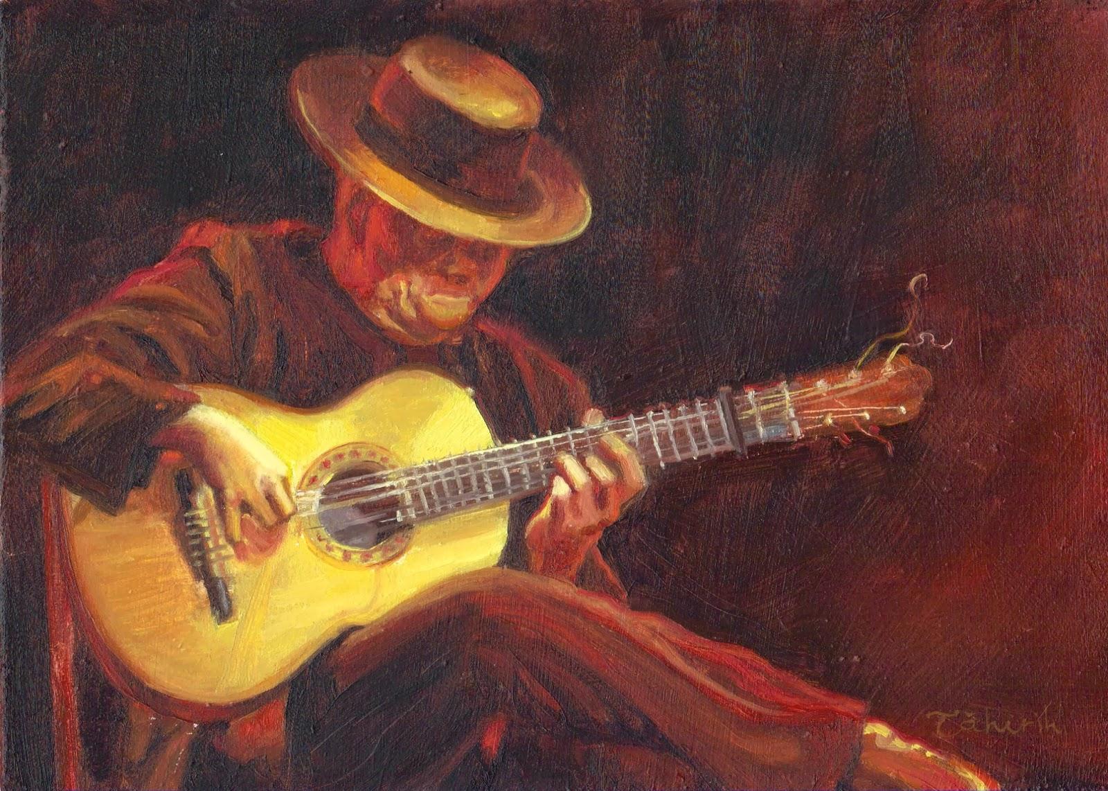 The Storyteller Man Playing Flamenco Guitar