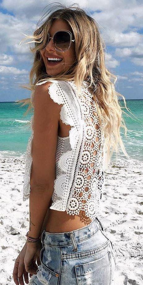 summer boho style addict: lacer top + shorts