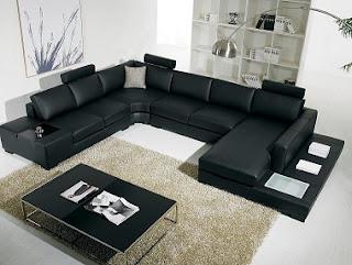 Sala moderna muebles cuero negro