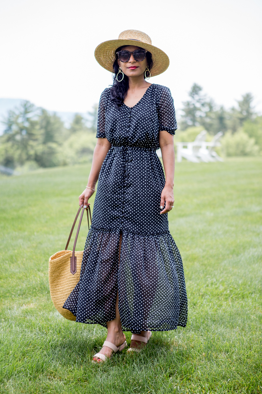 summer style, travel, new england getaways, petite fashion, polka dots, maxi dress, targetstyle, whowhatwear, affordable style, feminine style, straw accesssories, family vacation