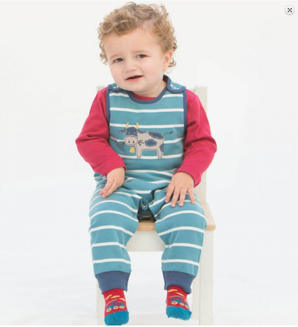 Organic Baby Boy Clothes - Cow Dungaree, Kite - $34.00