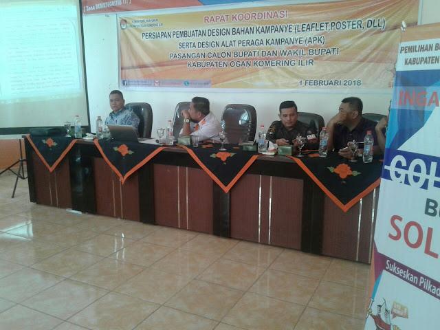 KPU OKI Gelar Koordinasi Persiapan Pembuatan Bahan Kampanye