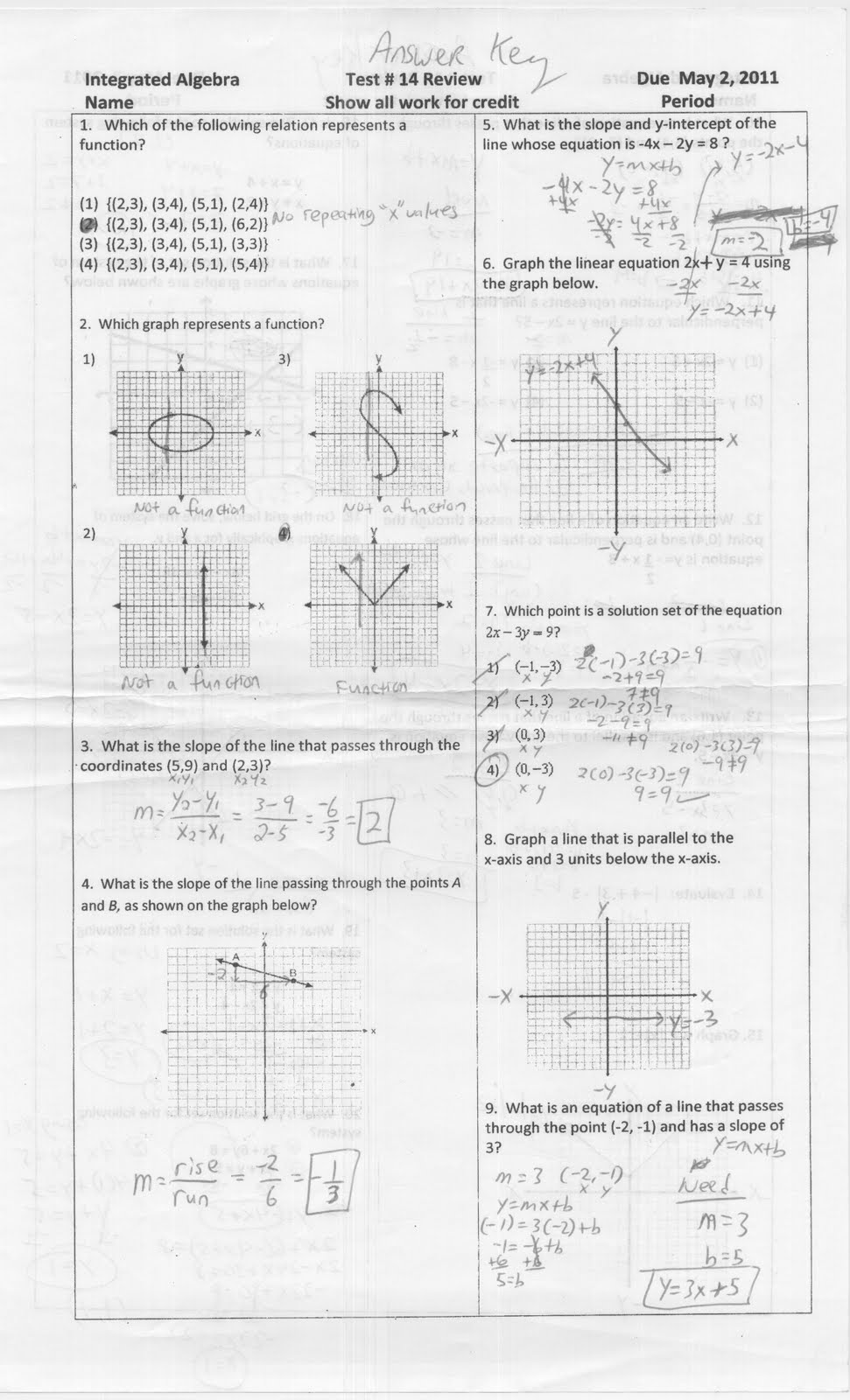 Mr. Napoli's Algebra: Test 14 Review Answer Key