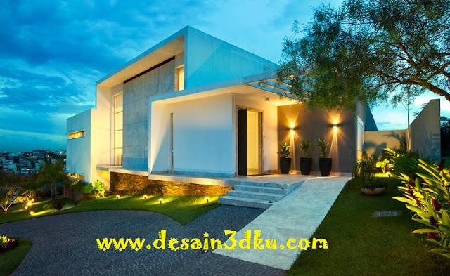 Desain Ekterior Rumah Minimalis Dengan Landscape Yang Cantik