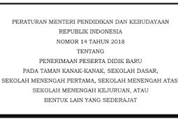 Permendikbud No 14 Tahun 2018 Tentang Penerimaan PPDB TK SD SMP SMA SMK Sederajat