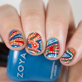 Wondrously Polished 31 Day Challenge 2 0 Day 8 Dotticure Aboriginal Artwork Inspired Nail Art
