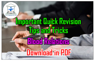 Important Quick Revision Tips and Tricks on Blood Relations– Download in PDF
