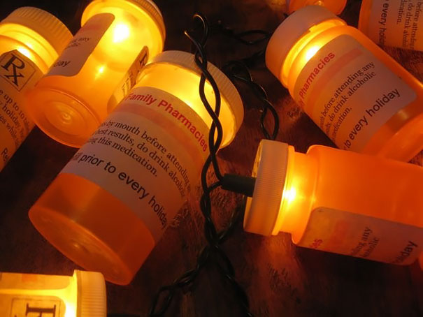 Creative Ideas For Christmas Decorations By A Hospital's Medical Staff - Christmas Light Prescription Bottles