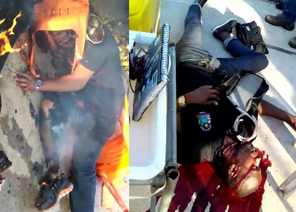 Vídeo Brutal - Seguranças do ensaio do Harmonia do Samba são executados e queimados vivo no meio da rua