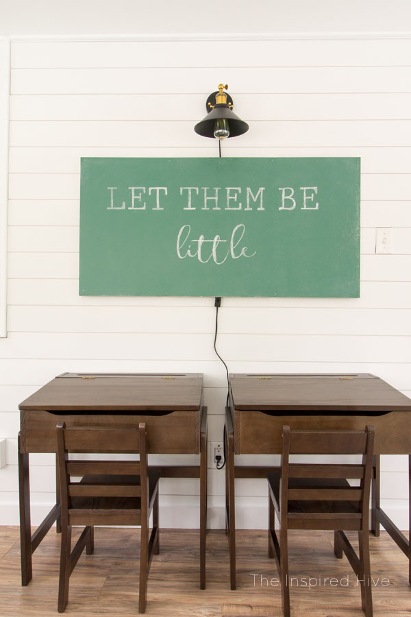 DIY Floating chalkboard and Decor ideas for a vintage modern schoolhouse themed playroom. Cute kids room for a modern farmhouse home!