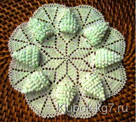 Carpeta tejida al crochet con uvas - con patrones   Crochet y Dos ...