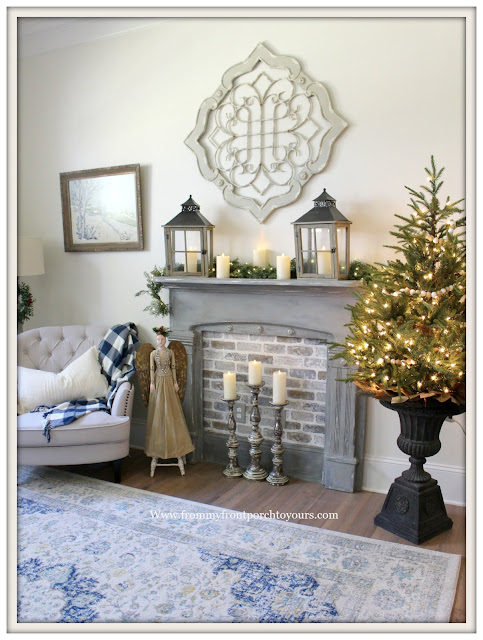 French Country-French Farmhouse-Christmas-Faux-Frieplace-Mini Tree--From My From Porch To Yours
