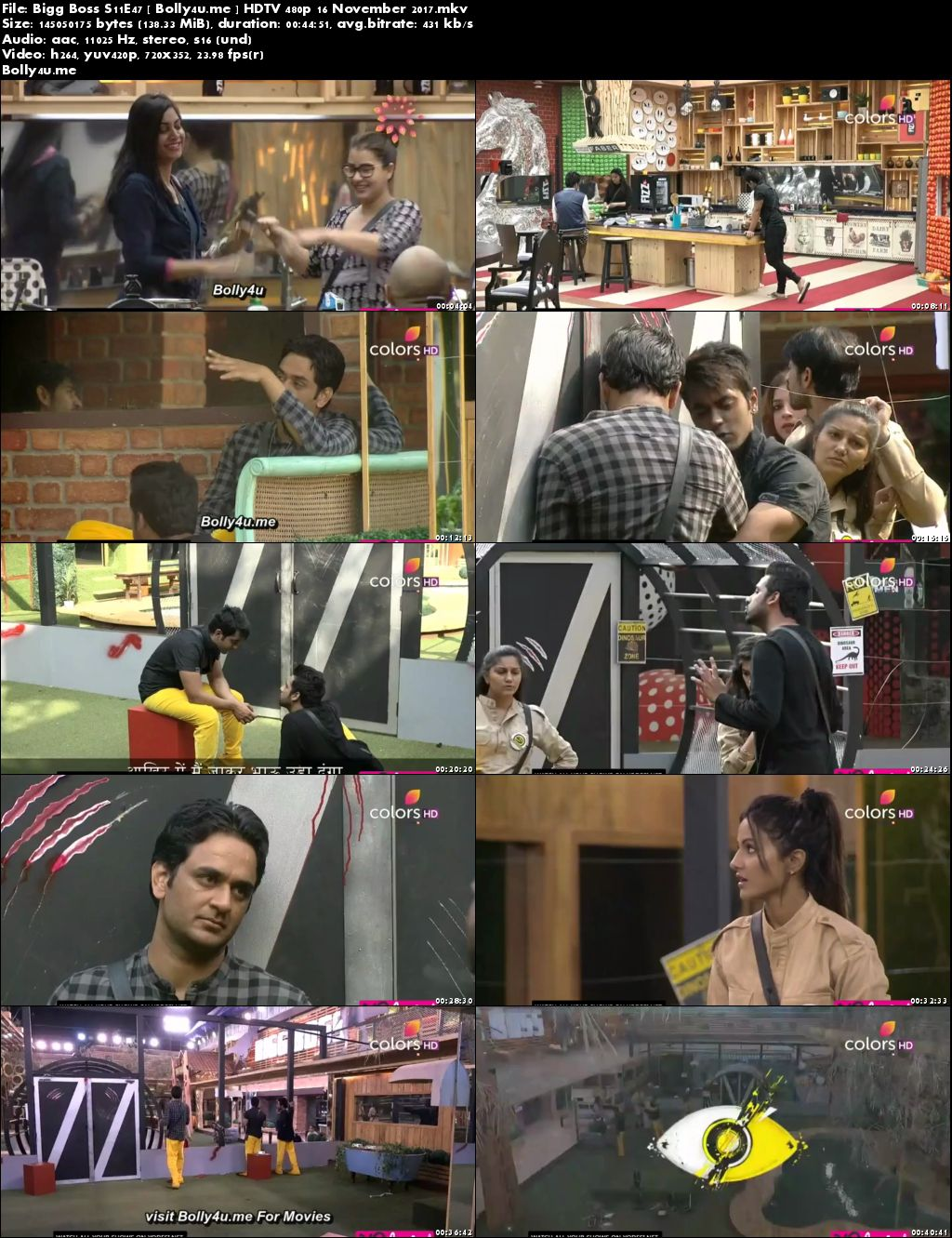 Bigg Boss S11E47 HDTV 140MB 480p 16 November 2017 Download