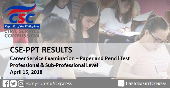 CSC releases April 15, 2018 civil service exam results CSE-PPT