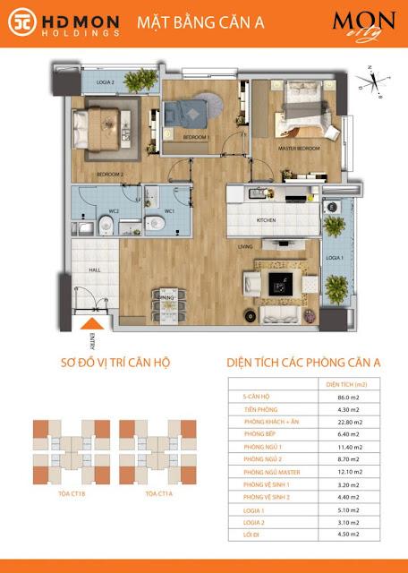 Căn hộ A diện tích 86m2 với thiết kế 03 phòng ngủ