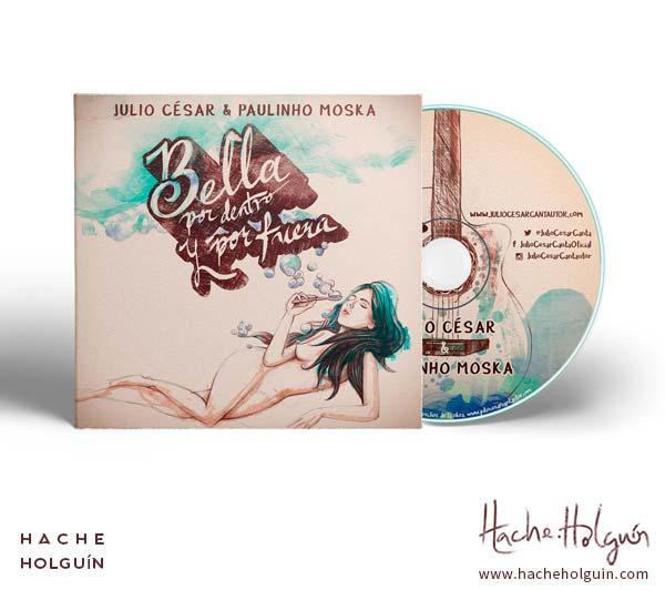 """Ilustración y diseño de carátula del sencillo """"Bella por dentro y por fuera"""" Julio César y Paulinho Moska"""