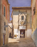 Corner in a Spanish City by Luigi Premazzi - Cityscape Drawings from Hermitage Museum