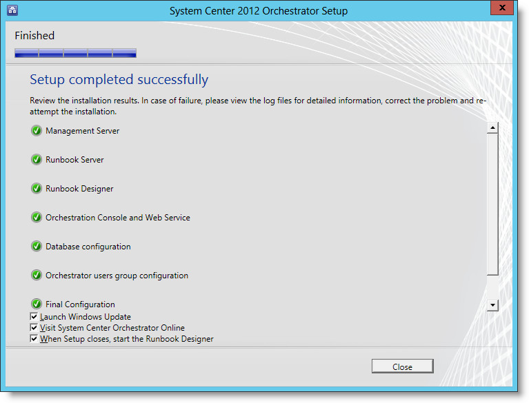 Installing Microsoft System Center Orchestrator 2012 SP1