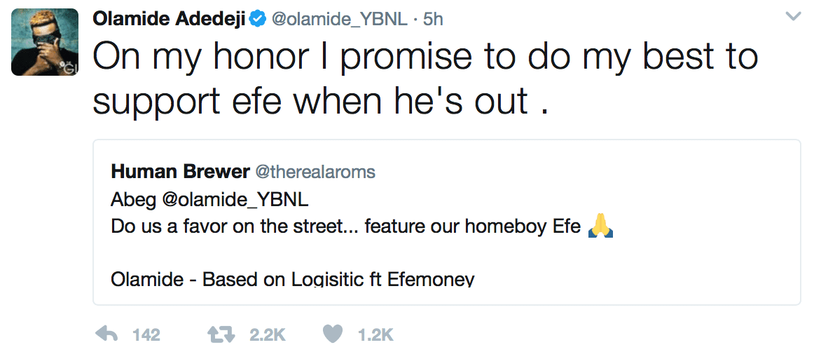 How YBNL Boss Olamide Pledges To Support #BBNaija Efe's Music Career When He Returns Home