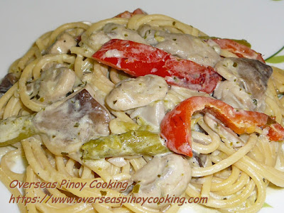 Asparagus and Mushroom Spaghetti in White Sauce Recipe