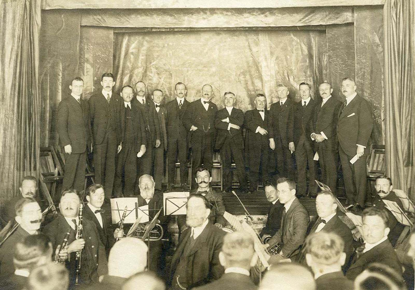A formal concert with internees and the German Imperial Band.