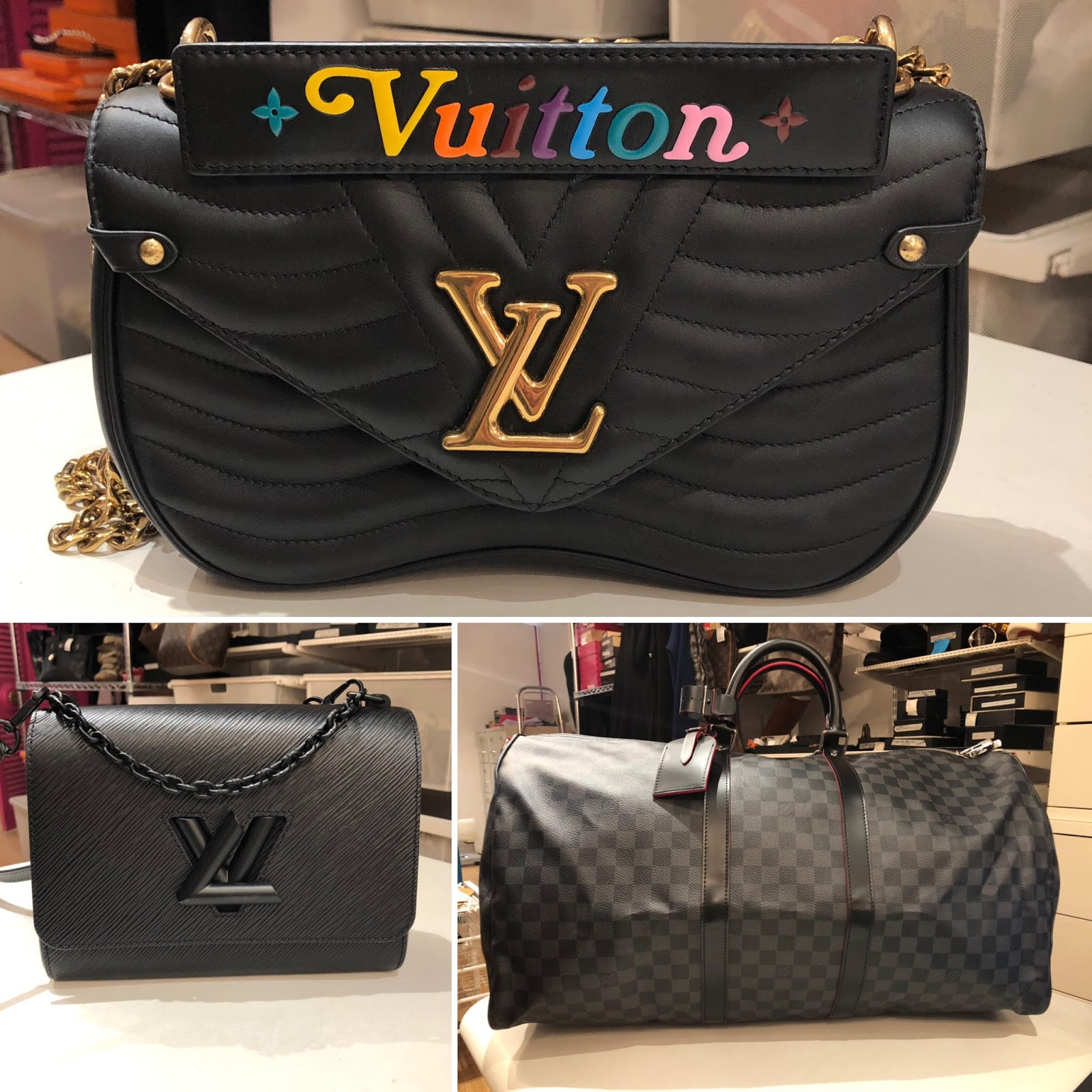40e50ab8494f Bottom 1- Louis Vuitton So Black Epi Matte Twist MM 2- LV RARE Damier  Graphite/Rouge Trim Keepall Bandouliere 55,