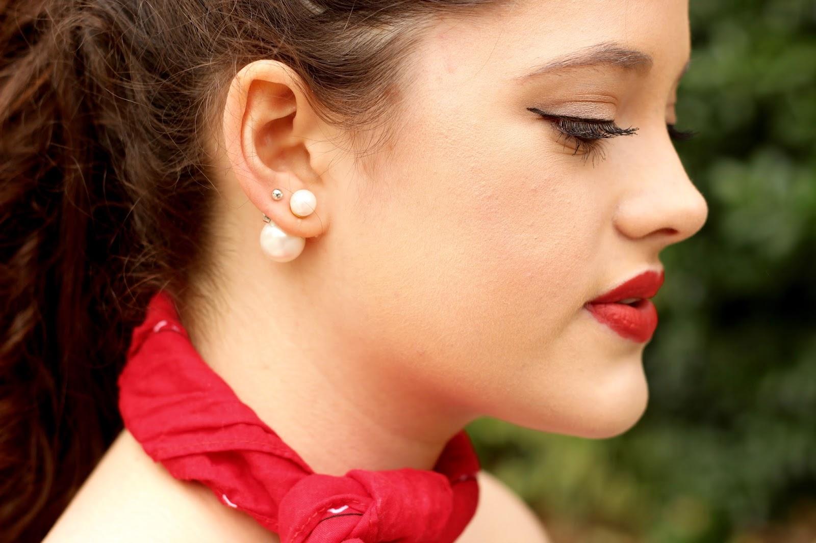 pearl back earrings