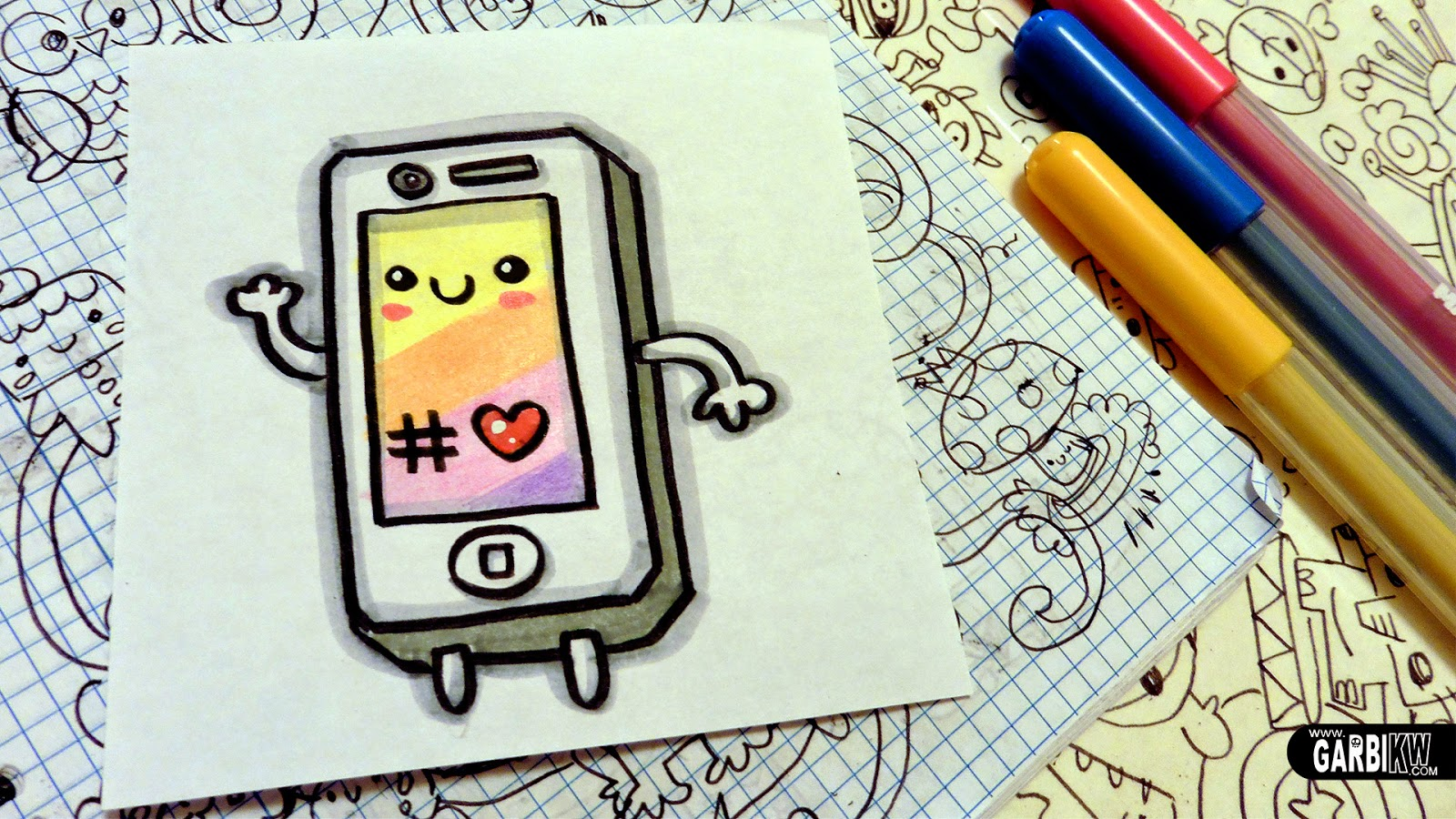 How To Draw A Cute Iphone Easy And Kawaii Drawings By Garb