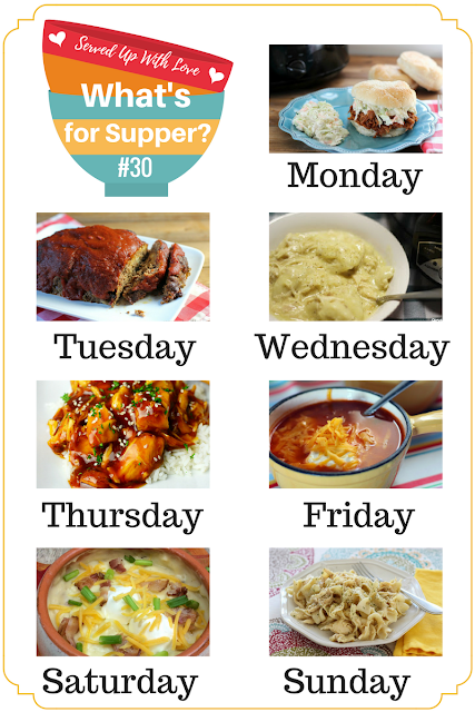 Caprese Salad, Crock Pot Pork BBQ, Family Favorite Meatloaf, Crock Pot Chicken and Noodles, and more at What's for Supper Sunday at Served Up With Love.