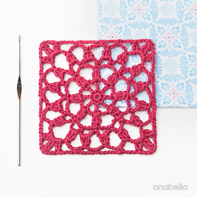 Crochet lace square Motif 2/ 2017 pattern Anabelia Craft Design