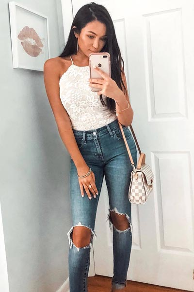 17 Fresh Fall Fashion Outfits To Update Your Closet In 2018 | High Rise Skinny Jeans