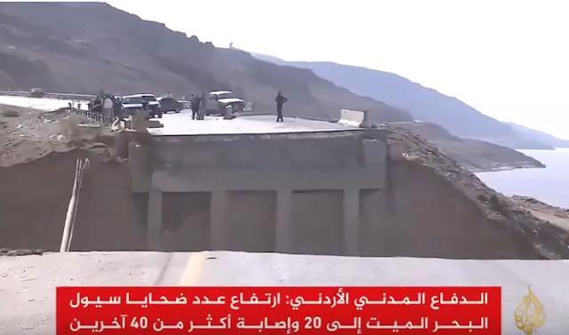 تقرير الجزيرة : مقتل وجرح العشرات في سيول البحر الميت ب #الأردن