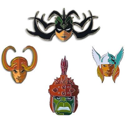 Thor Ragnarok Portrait Enamel Pins by Tom Whalen x Mondo x Marvel
