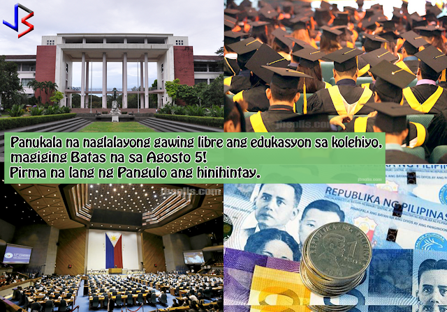 """Good news for students and parents in the Philippines. Senate Bill No. 1304 or the """"Free Higher Education for All Act"""" has just been approved by the Senate, and was already transmitted to the Office of the President for approval last July 5. Unless President Rodrigo Duterte vetoes or signs it earlier, then the measure would automatically lapse into law after 30 days or on August 5. The law would provide tuition subsidies and financial assistance to students in state universities and colleges (SUCs) and private higher learning and vocational institutions.  """"In line with the mandate of our Constitution, the State must uphold the right of all citizens to quality education at all levels,"""" Senator Bam Aquino said in a speech when he sponsored the bill on the floor as former chair of the Senate committee on education, arts and culture.  So who are to benefit when the bill is signed by the President into law?  Under the bill, all Filipino citizens currently enrolled in State Colleges and Universities and other similar institutions, as well as those who will enroll in the future in courses in pursuance of a bachelor's degree, certificate degree, or any comparable undergraduate degree in any SUC can qualify for the tuition subsidy """"provided that they meet the admission requirements of the SUC.""""  Similarly, students in private institutions can also avail of a """"subsidized loan"""" to fund their education. Requirements are set by the bill.  However, people who had attained a prior bachelor's degree or any equivalent degree, had been discharged from any higher education institution for whatever reason, or those who """"failed to complete their degree or program within a year after the prescribed period in their program"""" would be """"ineligible for the proposed tuition subsidies.""""  For example, to enjoy the free tuition, a student taking a four-year course must finish it or graduate within five years or lose the benefit. This will dissuade students from shifting courses and motivate them """
