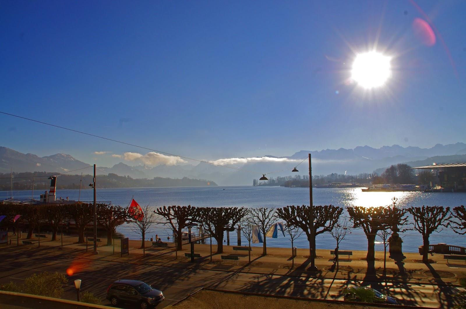 View of Lake Lucerne from Hotel Schweizerhof