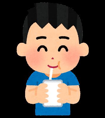パックの飲み物を飲む子供のイラスト(男の子)