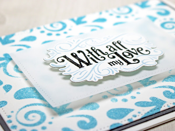 A Pretty White and Blue Swirl Anniversary Card