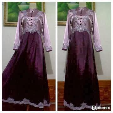Dress Satin Kombinasi Brokat Grosir Baju Gamis Terbaru Murah