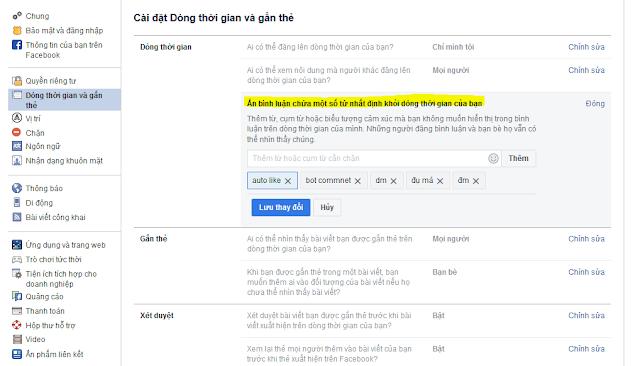 Chặn comment thô tục tự động trên facebook cá nhân