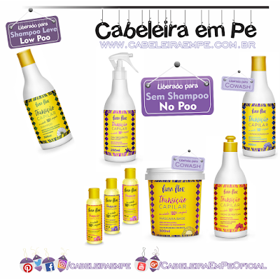 Linha Transição Capilar - Fina Flor (Shampoo liberado para Low poo - Condicionador, Máscara, Creme para pentear, spray e aditivos liberados para No Poo)
