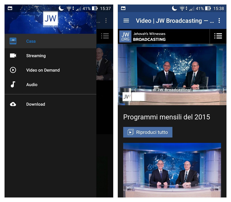 Come seguire JW Broadcasting su smartphone e tablet Android e su