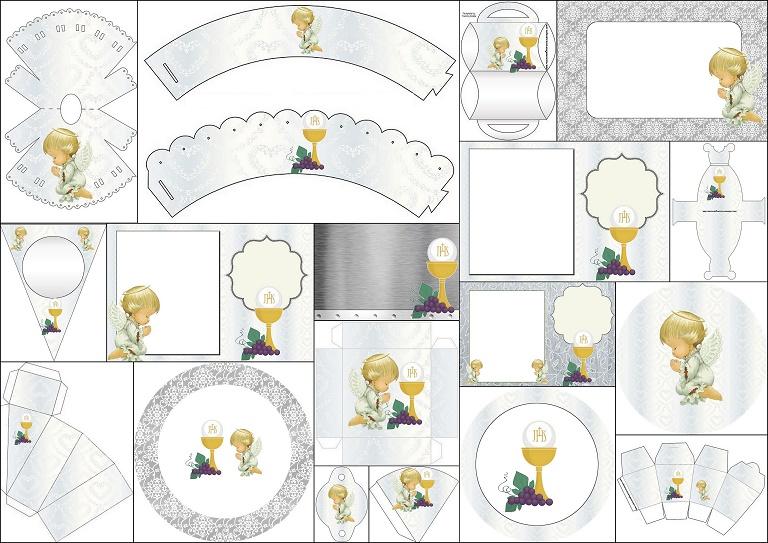 Primera Comunión Imprimibles Con Diseño En Plateado Y