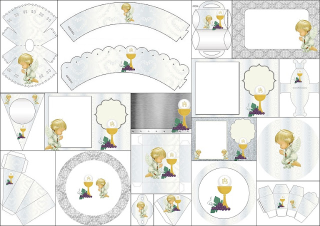 First Communion Free Printable Set with Precious Moments Angels.