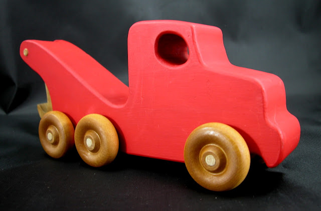 Handmade Wooden Toy Tow Truck From The Quick N Easy 5 Truck Fleet - Red Version - Right Front View