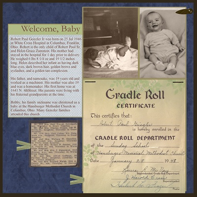 Baby Page for Family History Scrapbook