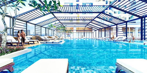 Bể bơi 4 mùa rộng 300m2 tại tầng 4