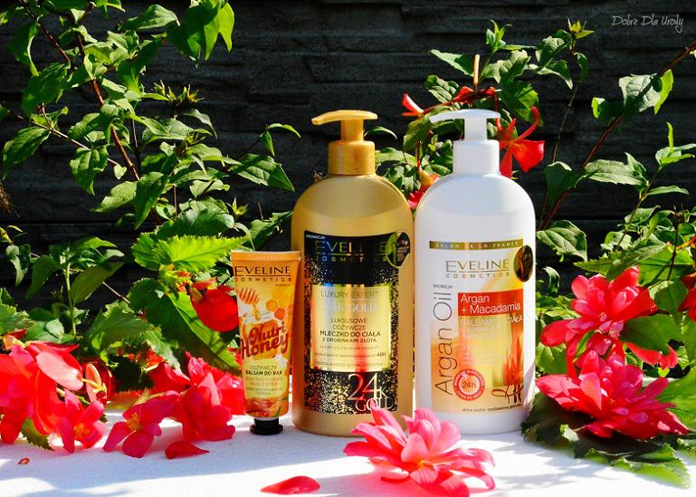 Eveline Cosmetics Balsam do ciała Argan Oil, Mleczko do ciała 24K Gold i Balsam do rąk Nutri Honey recenzja