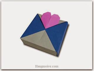Cách gấp, xếp hộp quà tặng vuông hình trái tim bằng giấy origami cho sinh nhật, valentine, lưu niệm - Video hướng dẫn xếp hình trái tim quà tặng - How to fold a Heart Ornament