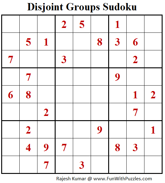 Disjoint Groups Sudoku (Fun With Sudoku #172)